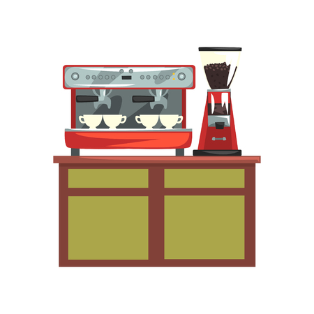 Coffee machine and electric coffee grinder on wooden table, professional equipment for coffee shop cartoon vector Illustration on a white background