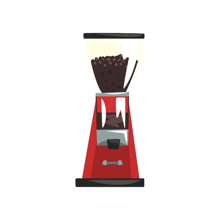 Electric red coffee grinder cartoon vector Illustration on a white background Ilustração