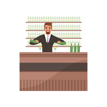 Cheerful bartender preparing cocktails at the bar counter, barman character at work cartoon vector Illustration on a white background