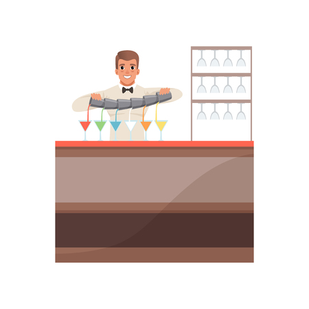 Cheerful bartender pouring alcoholic cocktails at the bar counter, barman character at work cartoon vector Illustration Illustration