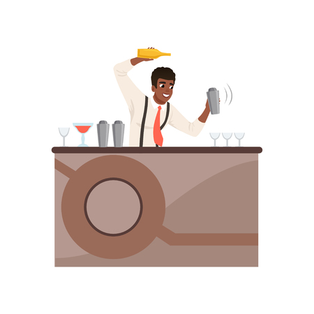 Smiling bartender shaking and mixing alcohol cocktail at the bar counter, barman character at work cartoon vector Illustration on a white background Illustration