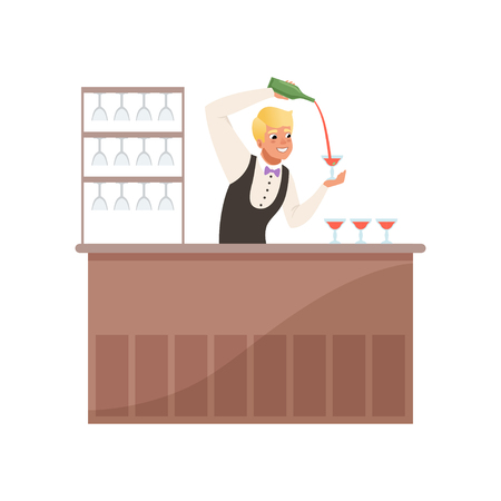 Cheerful bartender at the bar counter pouring alcohol drink from bottle, barman character at work cartoon vector Illustration on a white background