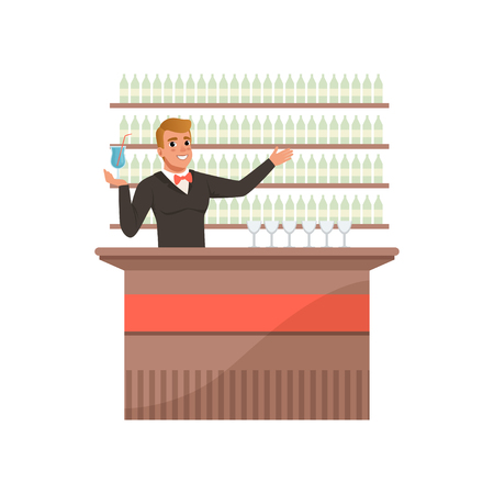 Cheerful bartender at the bar counter with arm out in a welcoming gesture, barman character at work cartoon vector Illustration on a white background Çizim