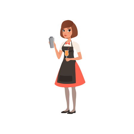 Beautiful young woman bartender holding a tray with alcohol drink, barman character mixing a cocktail drink in shaker cartoon vector Illustration on a white background Illustration