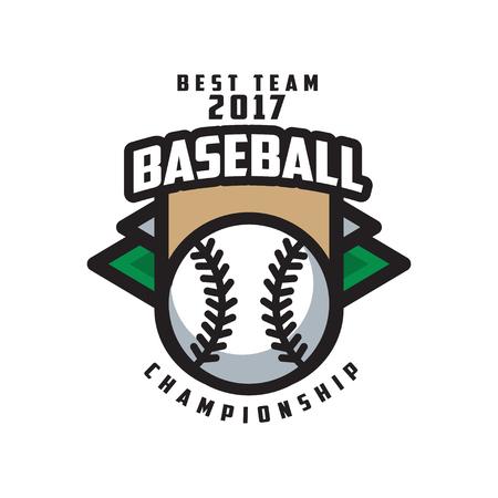 Baseball championship, best team 2017 logo template, design element for, badge, banner, emblem, label, insignia vector Illustration on a white background