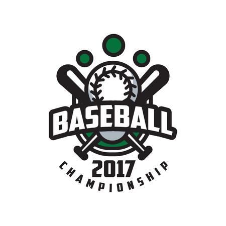 Baseball championship 2017 logo template, design element for, badge, banner, emblem, label, insignia vector Illustration on a white background