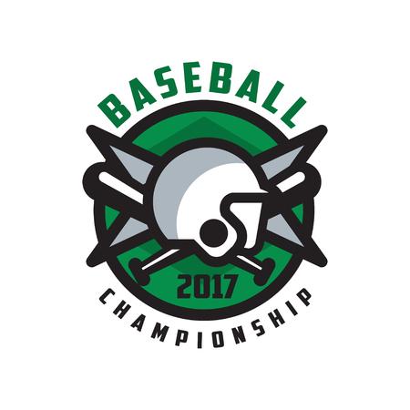 Baseball championship 2017 logo, design element in green color for, badge, banner, emblem, label, insignia vector Illustration on a white background