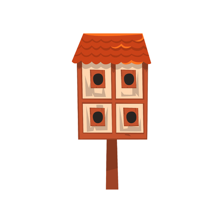 Cute wooden two storied bird house, nesting box cartoon vector Illustration on a white background Illustration