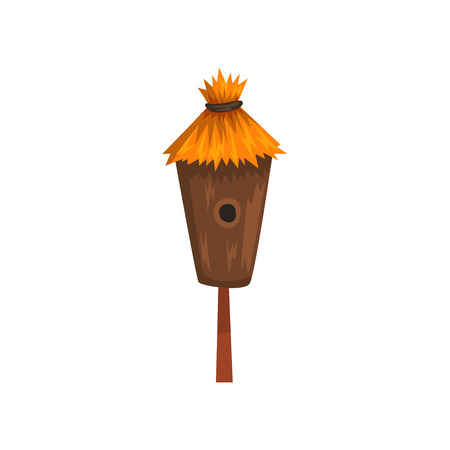Bird house with a thatched roof, nesting box cartoon vector Illustration on a white background
