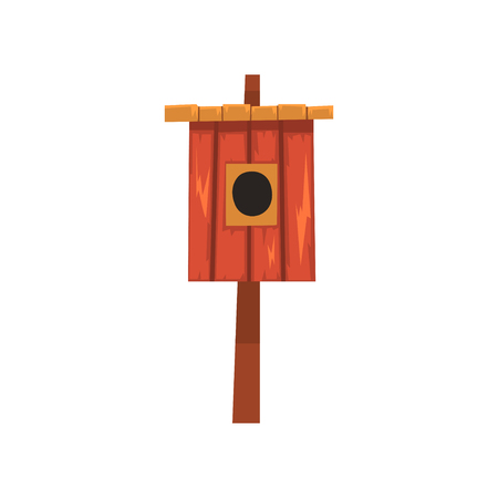 Wooden bird house, nesting box cartoon vector Illustration on a white background Illusztráció