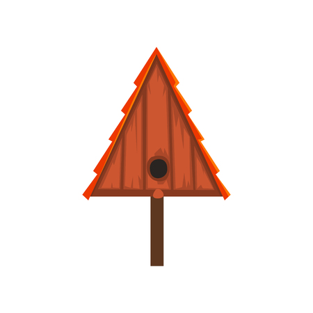 Wooden bird house of triangular shape, nesting box cartoon vector Illustration on a white background Illustration