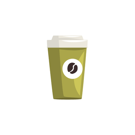 Green take away paper coffee cup, hot coffee disposable to go cup with lid cartoon vector Illustration isolated on a white background Stockfoto - 95856543