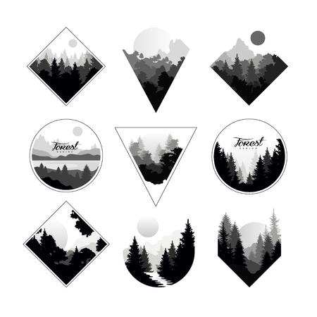 Set van zwart-wit landschappen in geometrische vormen cirkel, driehoek, ruit. Natuurlijke landschappen met wilde dennenbossen. Vector Illustratie