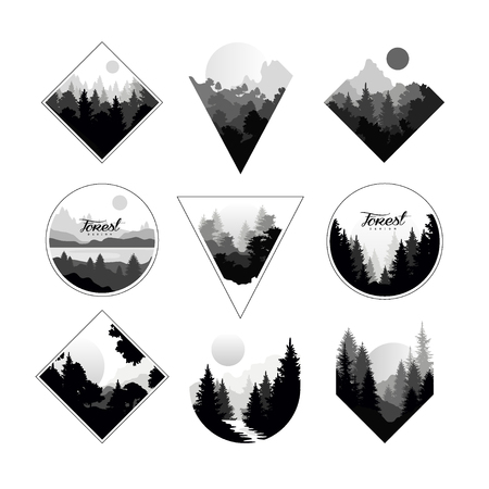 Zestaw monochromatycznych krajobrazów w geometrycznych kształtach koło, trójkąt, romb. Naturalne krajobrazy z dzikimi lasami sosnowymi. Ilustracje wektorowe