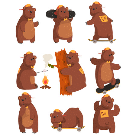 Funny teen bear in various situations. Cartoon forest animal character. Brown grizzly in orange cap and bow tie. Flat vector design for sticker or postcard Ilustração