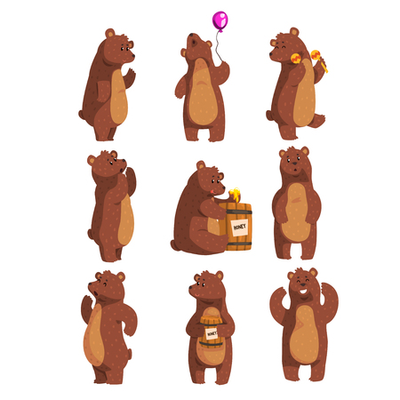 Set with funny bear. Forest animal waving by paw, holding balloon, dancing, howling, calling someone, eating honey from wooden barrel, smiling. Flat vector design