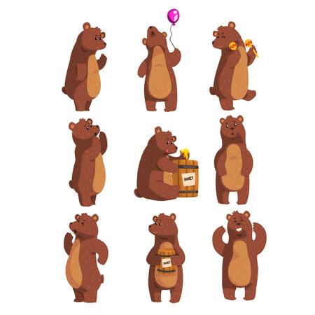 Set mit lustigem Bären. Waldtier winkt mit der Pfote, hält Ballon, tanzt, heult, ruft jemanden an, isst Honig aus Holzfass und lächelt. Flaches Vektor-Design