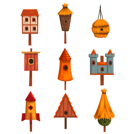 Birdhouse set, bird houses, nesting boxes cartoon vector Illustrations Illustration