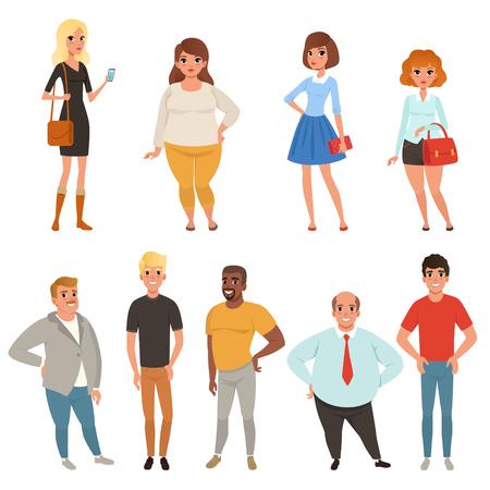 Cartoon collectie van jonge en volwassen mensen in verschillende poses.