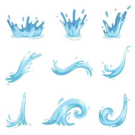 Ensemble de vagues bleues et éclaboussures d'eau, symboles ondulés de la nature en vecteur de mouvement Illustrations Vecteurs