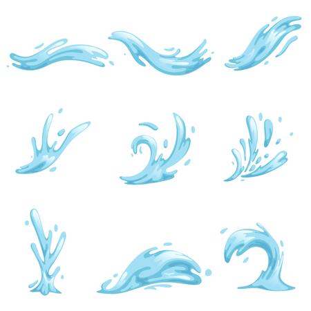 Conjunto de ondas azules y salpicaduras de agua, ondulado símbolos de la naturaleza en movimiento vector ilustraciones