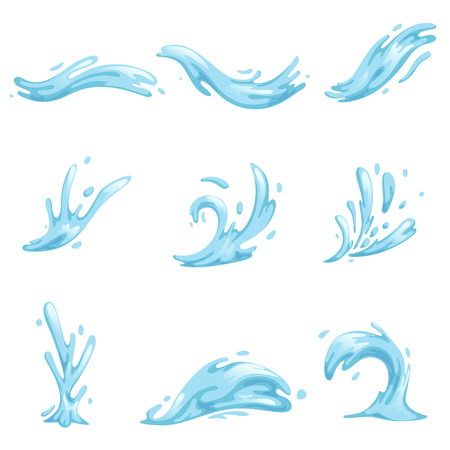Zestaw niebieskie fale i rozpryski wody, faliste symbole przyrody w ruchu wektorowe ilustracje