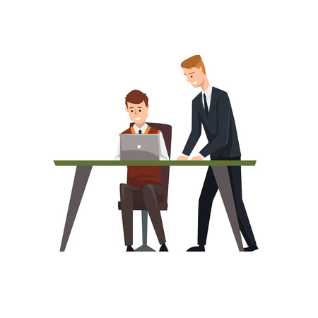 Man sitting at desk working on laptop computer, his colleague standing next to him, businessmen at work, co working business people characters vector Illustration on a white background