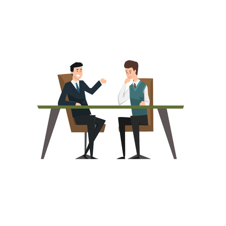 Business partners talking and discussing ideas at meeting, co working people characters vector Illustration on a white background