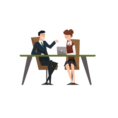Business people smiling and talking at the laptop at meeting, co-working people characters vector Illustration isolated on a white background