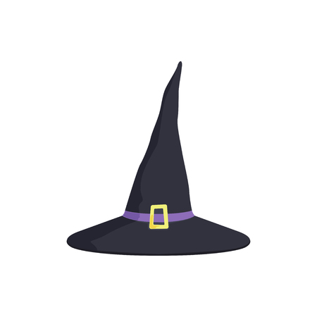 Halloween witches hat with a gold buckle, masquerade decorative element cartoon vector Illustration on a white background Illustration