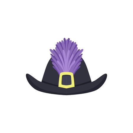 Hat with feathers masquerade decor, carnival headdress element. Cartoon vector Illustration on a white background.