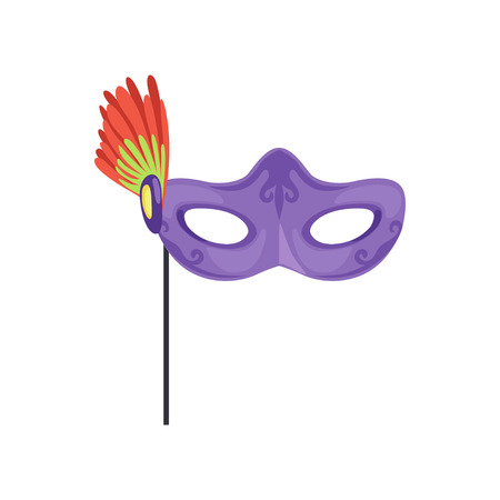 Venetian mask with feathers, masquerade decorative element cartoon vector Illustration on a white background