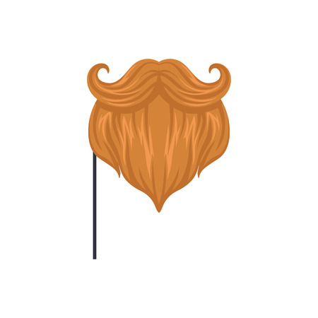 Red mustaches and beard, masquerade decorative element cartoon vector Illustration on a white background Ilustração