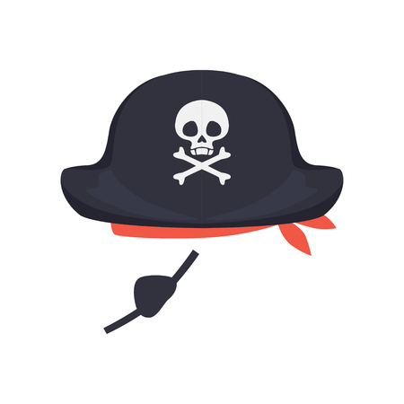 Black pirate hat with skull and eye patch, masquerade decor, carnival headdress element cartoon vector Illustration isolated on a white background
