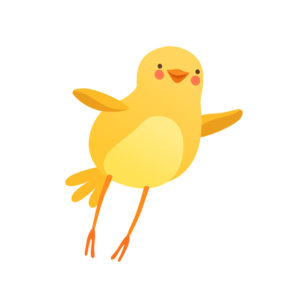 Cute baby chicken trying to fly, funny cartoon bird character vector Illustration on a white background