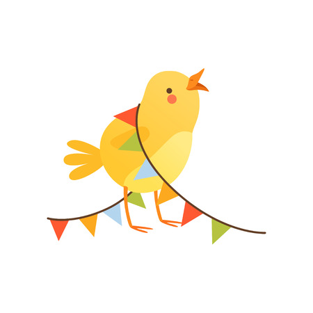 Cute baby chicken entangled in party flags, funny cartoon bird character. Vector Illustration on a white background. Illusztráció