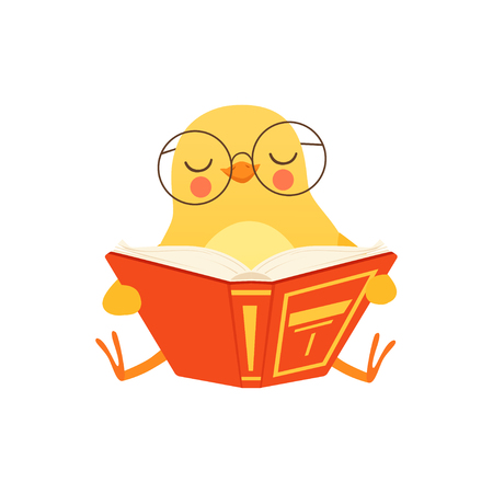Cute baby chicken in glasses sitting on the floor and reading a book, funny cartoon bird character vector Illustration on a white background