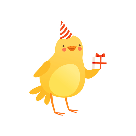 Cute baby chicken in party hat holding gift box, funny cartoon bird character vector Illustration isolated on a white background