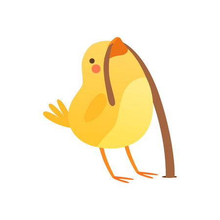 Cute baby chicken catching a worm, funny cartoon bird character vector Illustration isolated on a white background