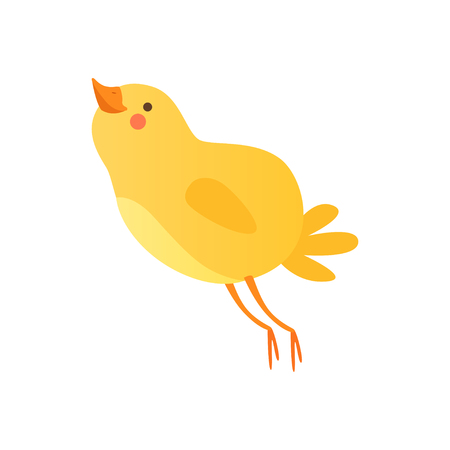 Cute happy baby chicken, funny cartoon bird character vector Illustration on a white background