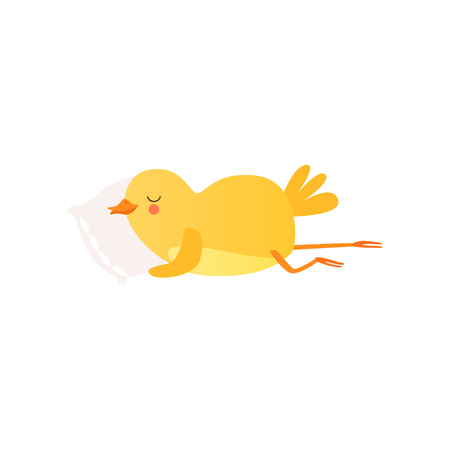Cute baby chicken sleeping on pillow, funny cartoon bird character vector Illustration on a white background Illustration