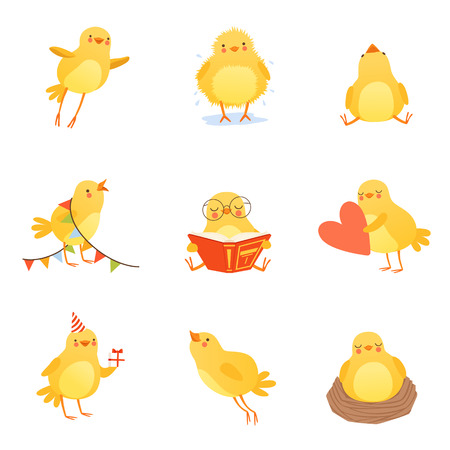 Cute chicken in various situations. Trying to flight up, reading, sleeping in nest, shaking off water, going to birthday party, holding heart, sitting and looking up. Flat vector