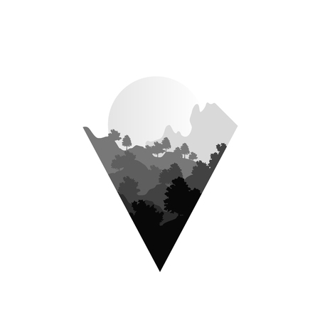 Beautiful nature summer landscape with silhouettes of trees and sun, natural scene icon in geometric triangle shaped design, vector illustration in black and white colors 写真素材 - 96059545