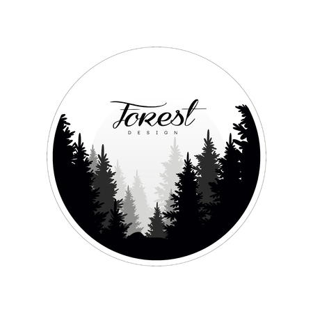 Forest logo design template, beautiful nature landscape with silhouettes of forest coniferous trees in fog, natural scene icon in geometric round shaped design, vector illustration Çizim