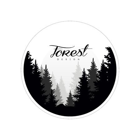 Modello di progettazione di logo di foresta, bellissimo paesaggio naturale con sagome di conifere della foresta nella nebbia, icona di scena naturale in forma geometrica a forma rotonda, illustrazione vettoriale