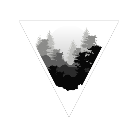 Beautiful nature landscape with silhouettes of forest coniferous trees in fog and sun, natural scene icon in geometric triangle shaped design, vector illustration in black and white colors Ilustrace