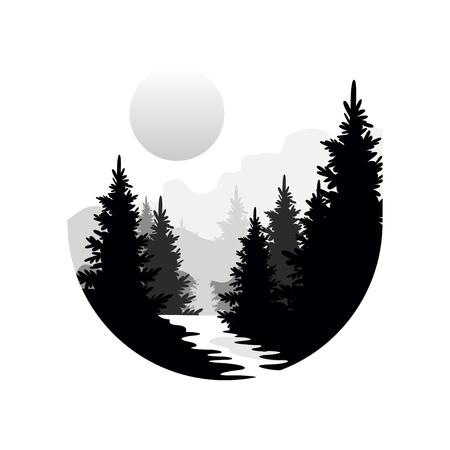 Piękny krajobraz przyrody z sylwetkami drzew iglastych, gór i słońca, ikona naturalnej sceny w geometrycznym okrągłym kształcie, ilustracja wektorowa w czarno-białych kolorach