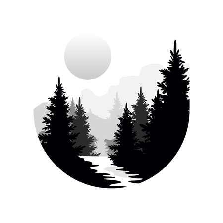 Beautiful nature landscape with silhouettes of forest coniferous trees, mountains and sun, natural scene icon in geometric round shaped design, vector illustration in black and white colors Vettoriali