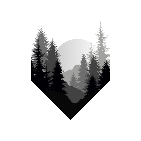 Beautiful nature landscape with silhouettes of trees, mountains, sunset of big sun, natural scene icon in geometric shape design, vector illustration in black and white colors