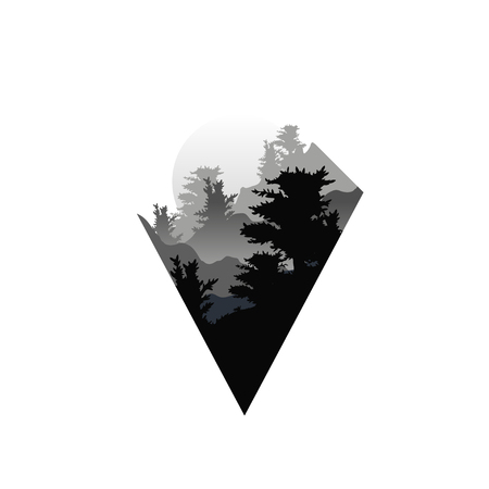 Beautiful nature landscape with silhouettes of forest trees in fog, sunset of big sun, natural scene icon in geometric triangle shaped design, vector illustration in black and white colors, flat style  イラスト・ベクター素材